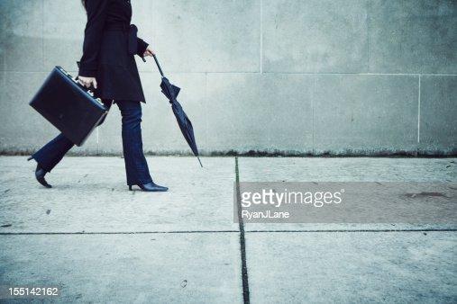 Business Woman Walking Downtown