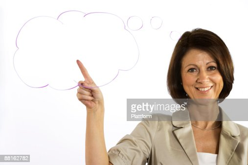 A business woman with a thought-bubble Sweden. : Stock Photo