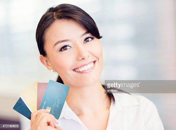 Business woman with credit cards