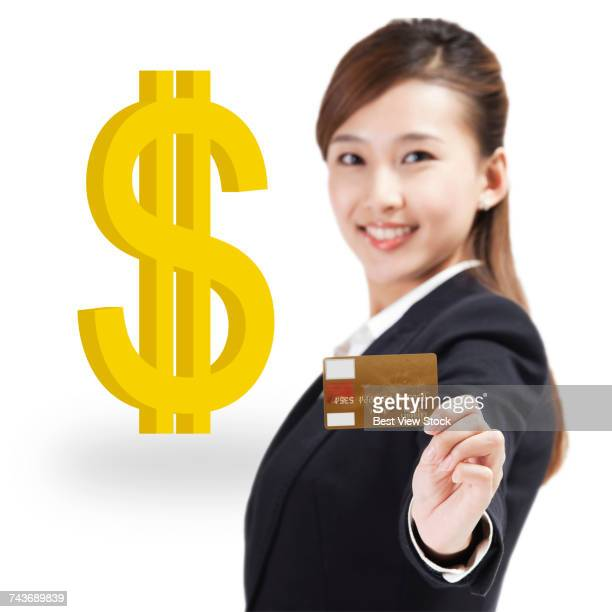 Business woman with financial symbols