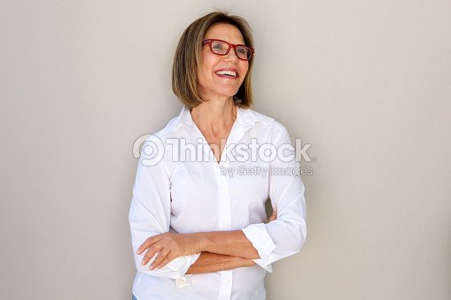 business woman with glasses smiling : Foto stock