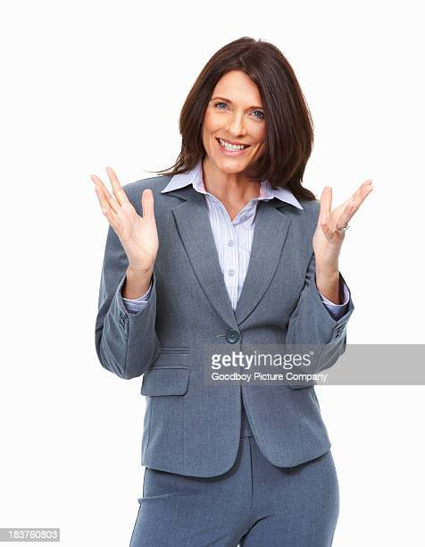 Business woman with hands gesture on white background