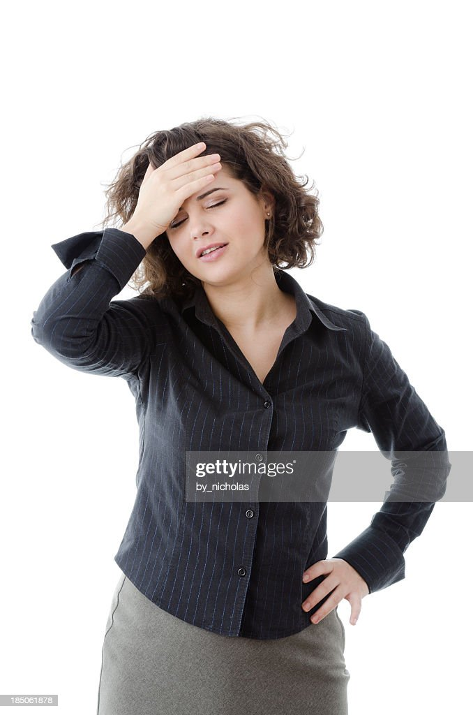 'Business woman with headache, isolated on white' : Stock Photo