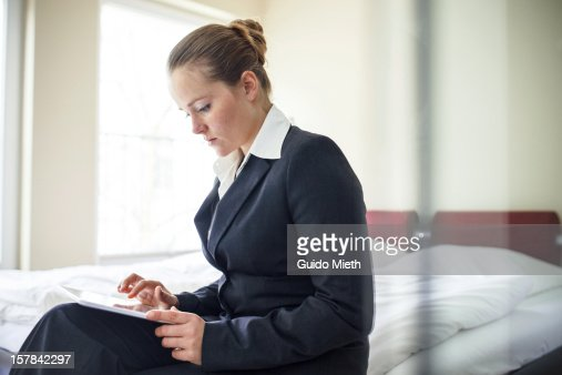 Business woman with smart device. : Stock Photo
