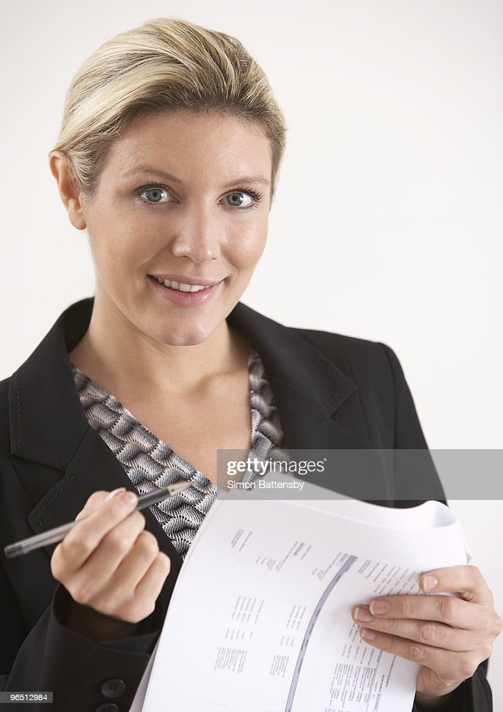 business woman with statement : Stock Photo