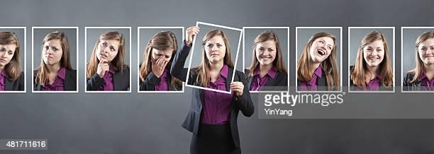 Donna d'affari, con diverse personalità, carattere emozionante e espressioni
