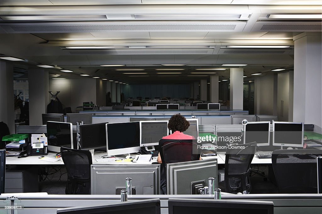 A business woman working late