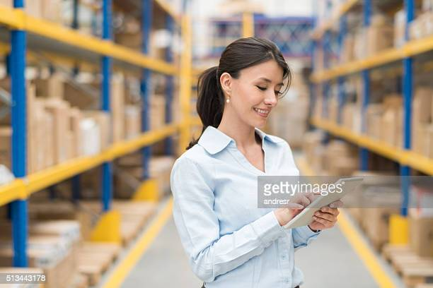 Business woman working on freight transportation