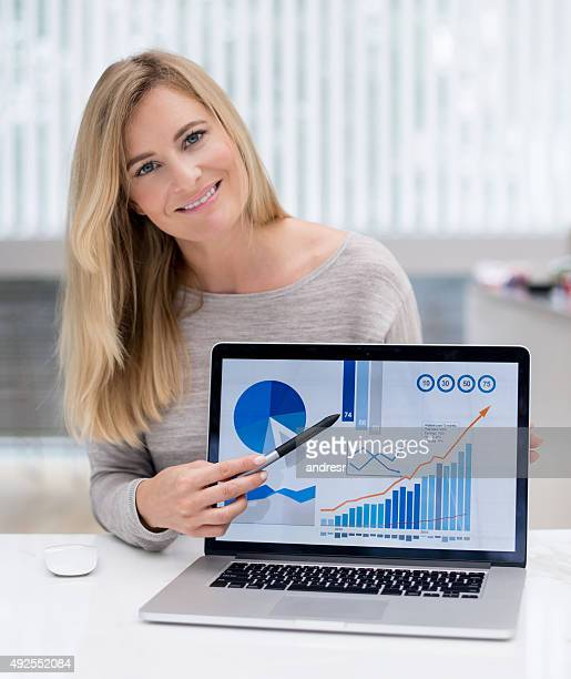 Business woman working online at home