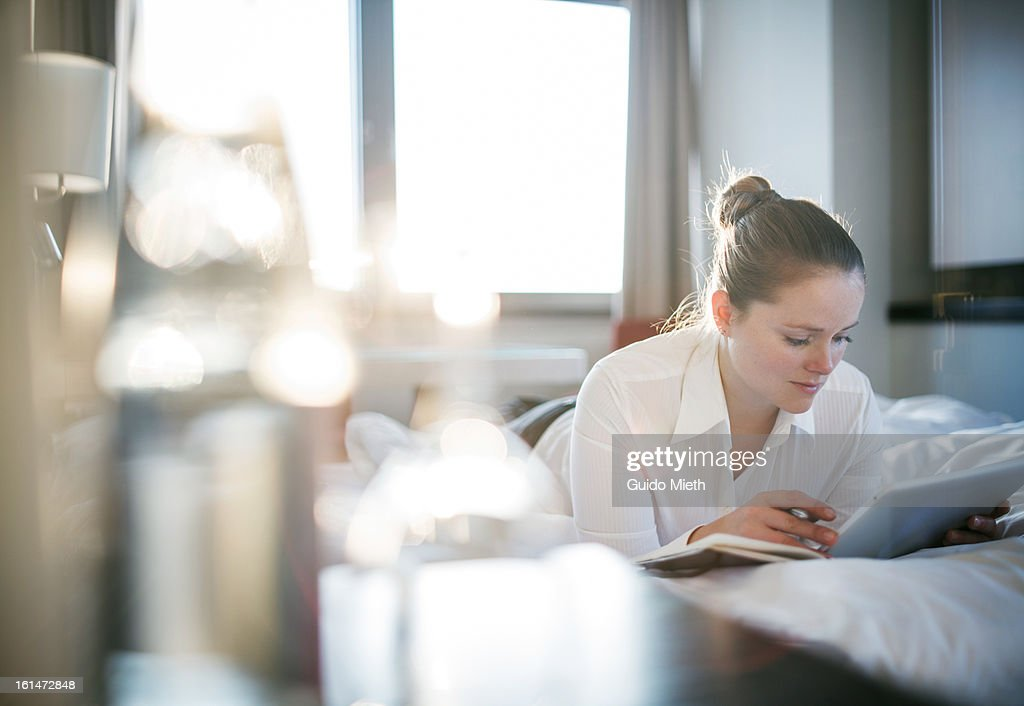 Business woman working with tablet : Stock Photo