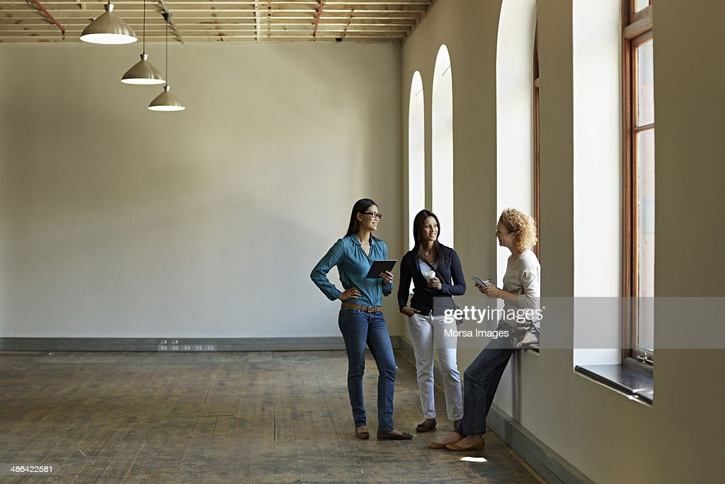 Business women looking at new office space