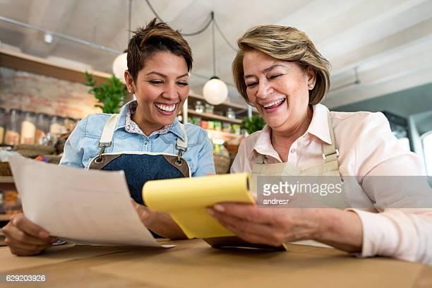 Business women working at a restaurant