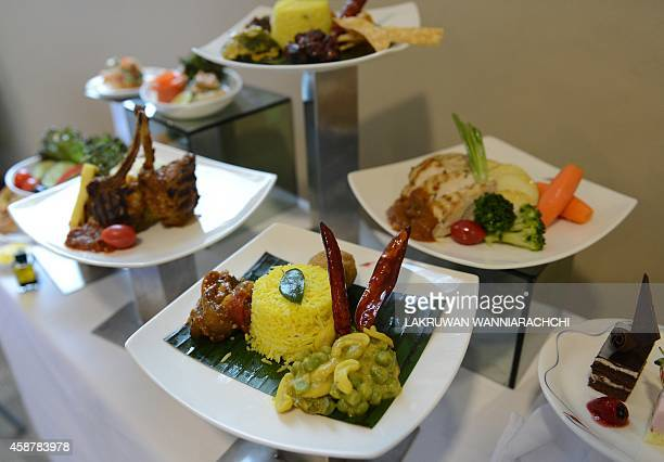 Businessclass meals served aboard SriLankan Airlines longhaul flights are pictured at the airport in Colombo on November 10 2014 AFP PHOTO / LAKRUWAN...