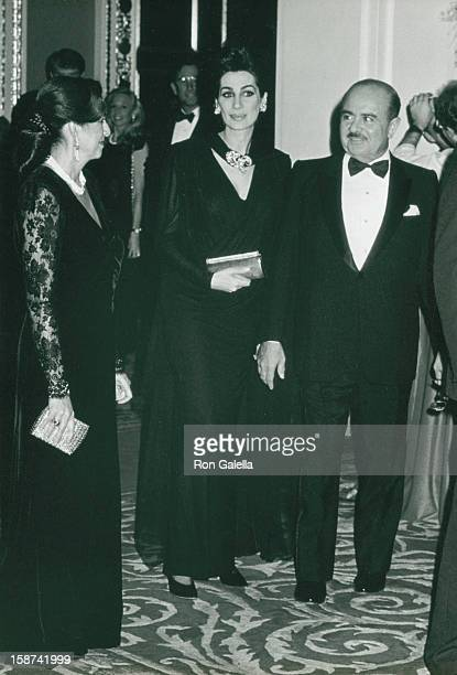 Businessman Adnan Khashoggi and Lamia Biancolini attend Wedding Reception for Donald Trump and Marla Maples on December 20 1993 at the Plaza Hotel in...