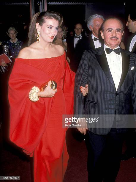 Businessman Adnan Khashoggi and wife Lami Khashoggi attend the 'La Traviata' Opening Night Performance on October 16 1989 at The Metropolitan Opera...