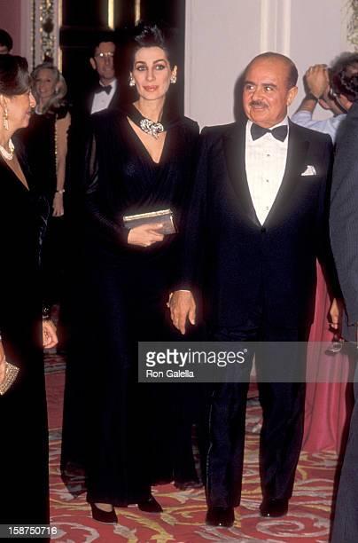 Businessman Adnan Khashoggi and wife Shahpari Khashoggi attend the Wedding of Donald Trump and Marla Maples on December 20 1993 at The Plaza Hotel in...
