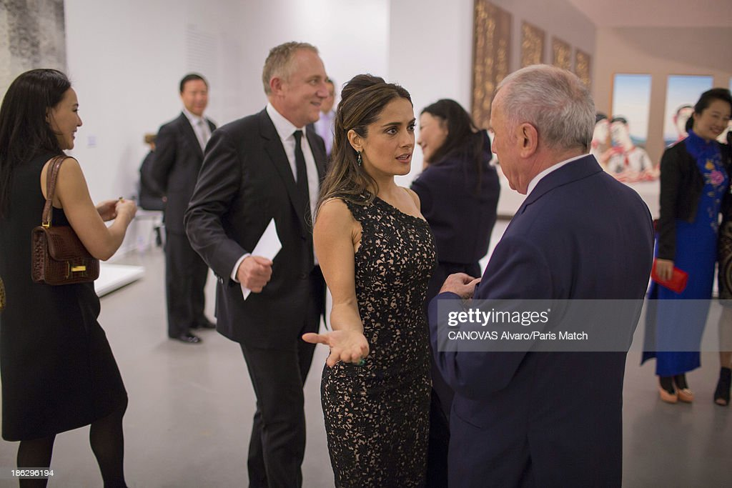 Businessman and art collector Francois Pinault is photographed with Salma Hayek for Paris Match on September 9, 2013 in Shanghai, China.
