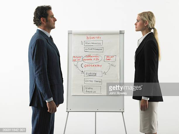 Businessman and businesswoman facing each other by flipchart