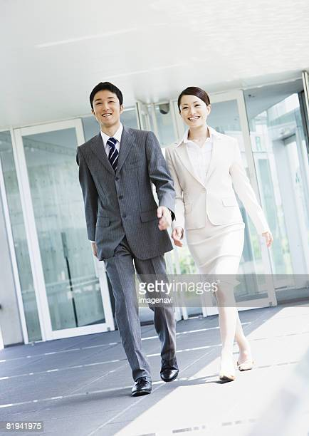 Businessman and businesswoman