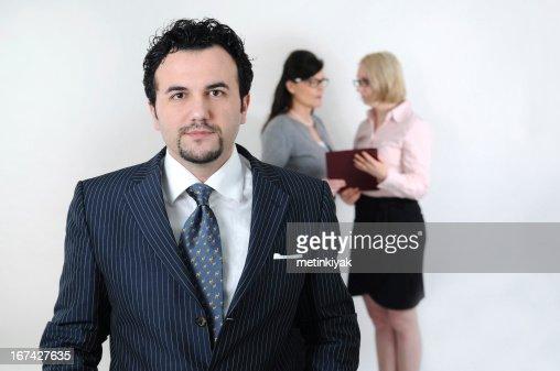 Empresario y empresaria equipo en blanco : Foto de stock