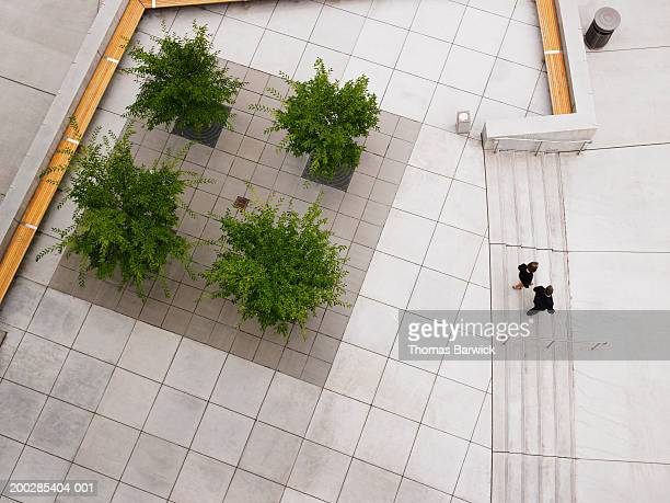 Businessman and businesswoman walking down stairway, elevated view
