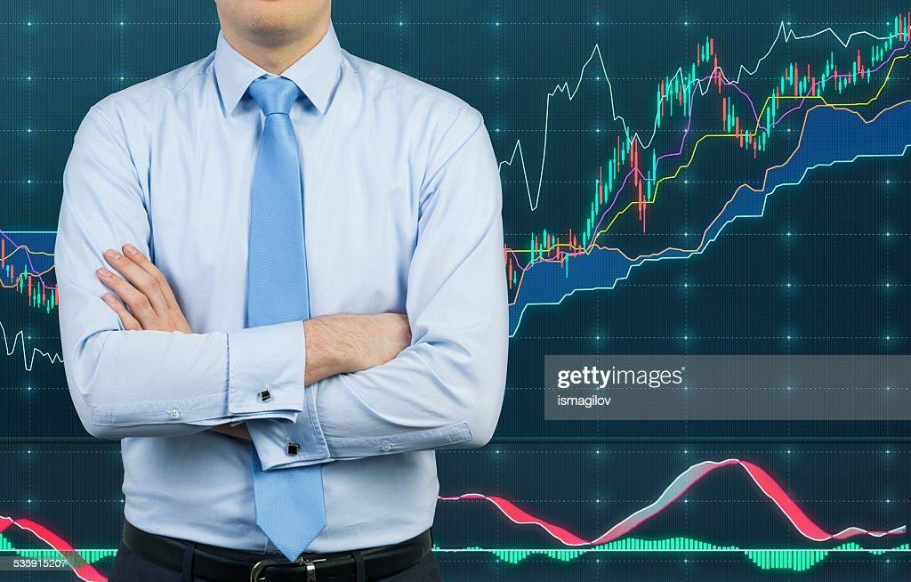 Empresário e gráfico : Foto de stock