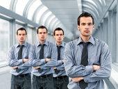 Businessman and clones
