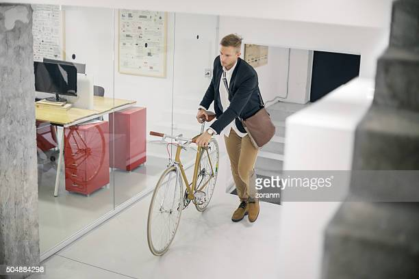 Businessman and his bicycle
