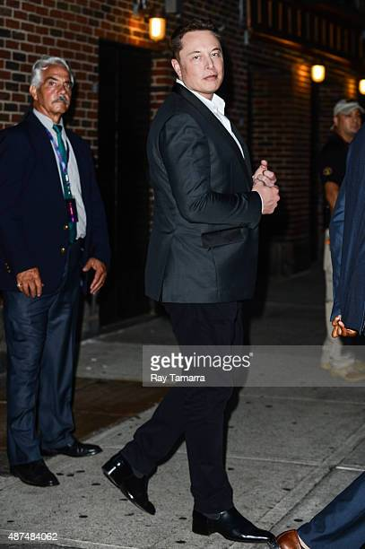 Businessman and inventor Elon Musk leaves the 'The Late Show With Stephen Colbert' taping at the Ed Sullivan Theater on September 9 2015 in New York...