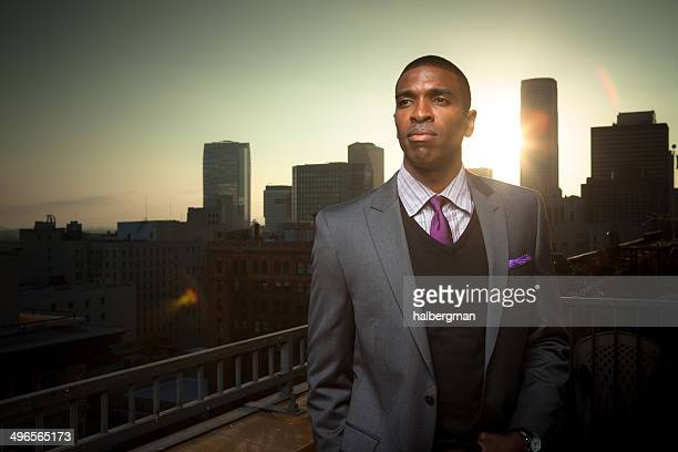 Businessman and Los Angeles Skyline