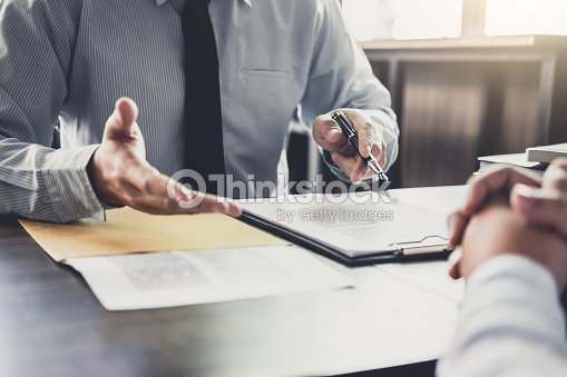 Businessman and Male lawyer or judge consult having team meeting with client, Law and Legal services concept : Stock Photo