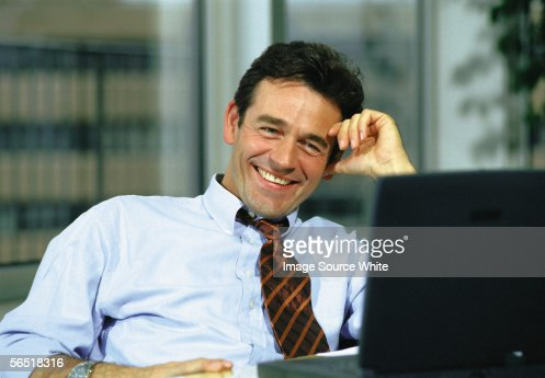 Businessman at computer : Foto de stock