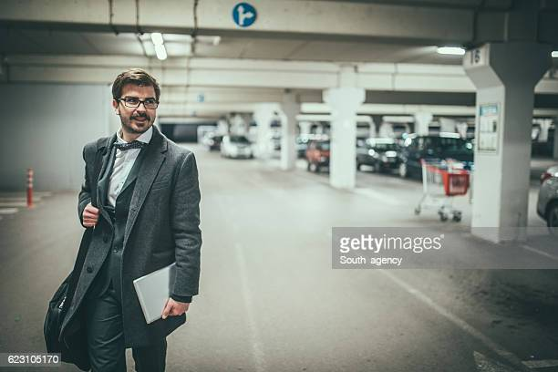 Businessman at the parking lot