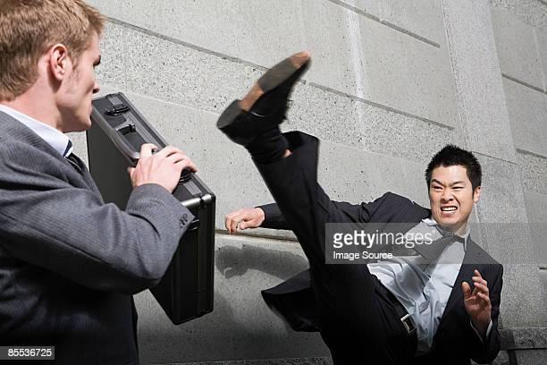 Businessman attacking