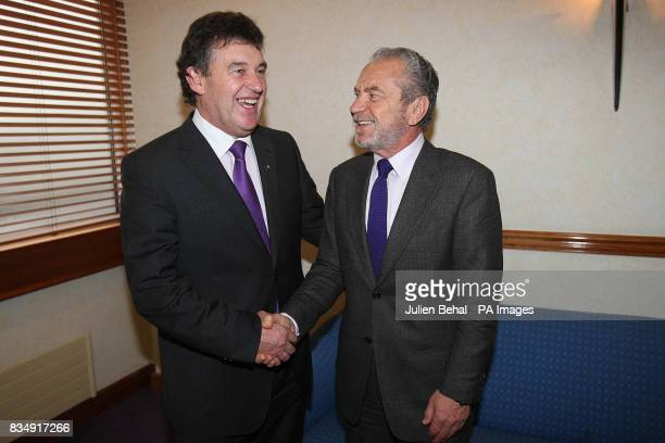 Businessman Bill Cullen meets Sir Alan Sugar as the Immigrant Council of Ireland launches its scheme at the Burlington Hotel in Dublin