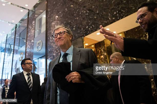 Businessman Bill Gates speaks to reporters at Trump Tower December 13 2016 in New York City Presidentelect Donald Trump and his transition team are...