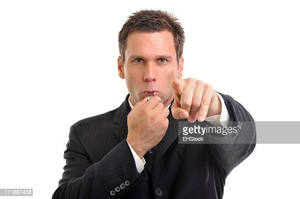 Businessman Blowing Sports Whistle Isolated on White Background