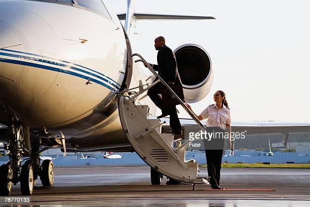 Businessman Boarding Executive Jet
