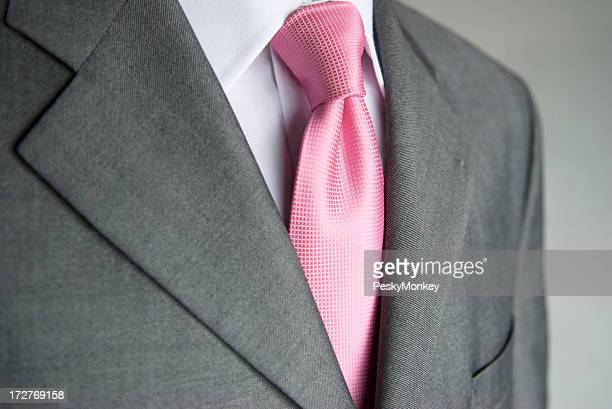 Businessman Bright Pink Necktie Gray Suit Close-Up