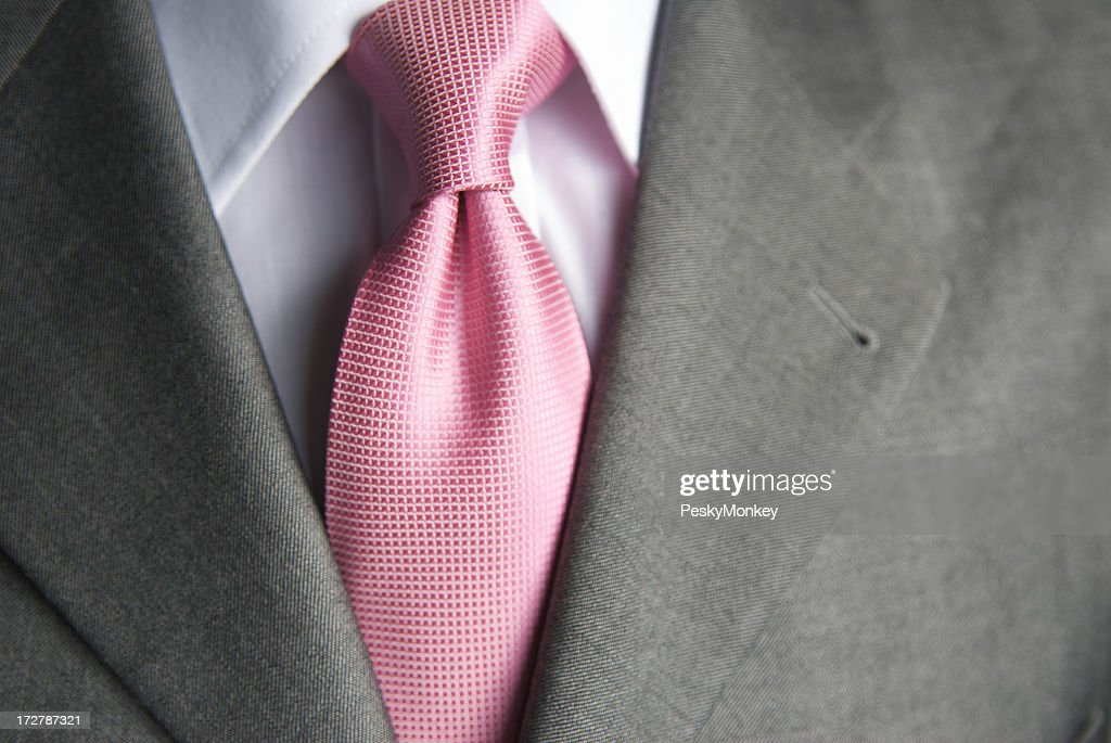 Bright Pink Shiny Tie Close-Up