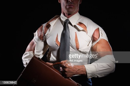 Businessman busting out of shirt