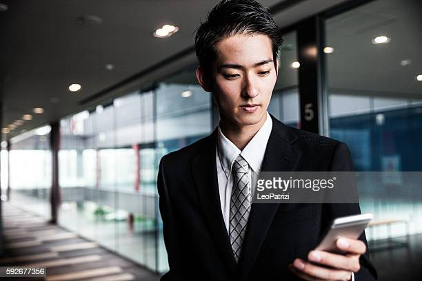 Businessman busy working during lunch break in the morning