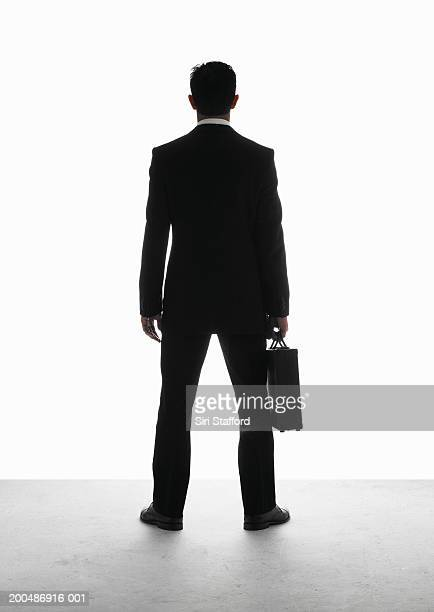 Businessman carrying briefcase, rear view