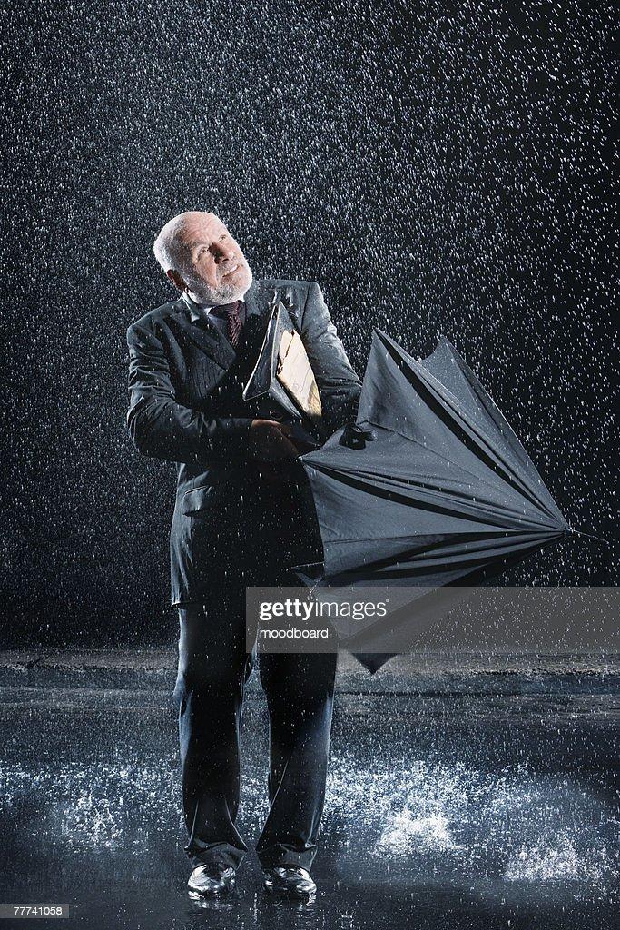 Businessman Caught in Sudden Rain