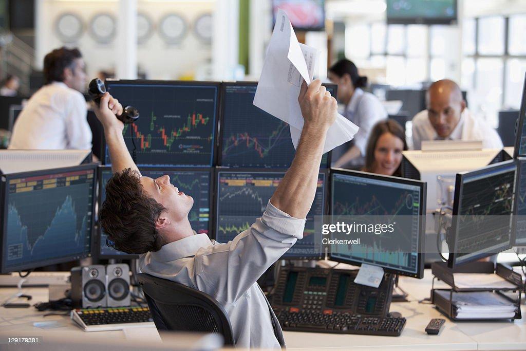 Businessman celebrating success : Stock Photo