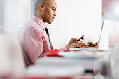 Businessman Checking His Cell Phone at Lunch