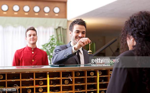 Businessman checking in to a hotel