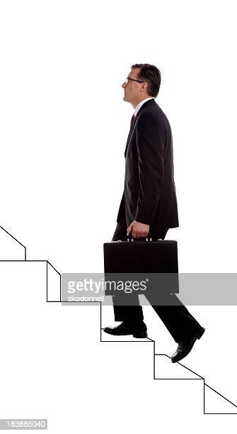 Businessman Climbing Drawn Stairs on White