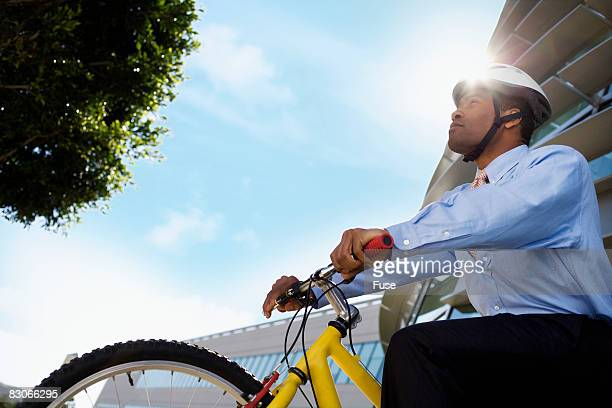 Businessman Commuting on Bicycle