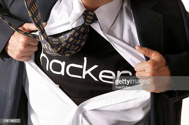Geschäftsmann computer hacker Eröffnung sein shirt